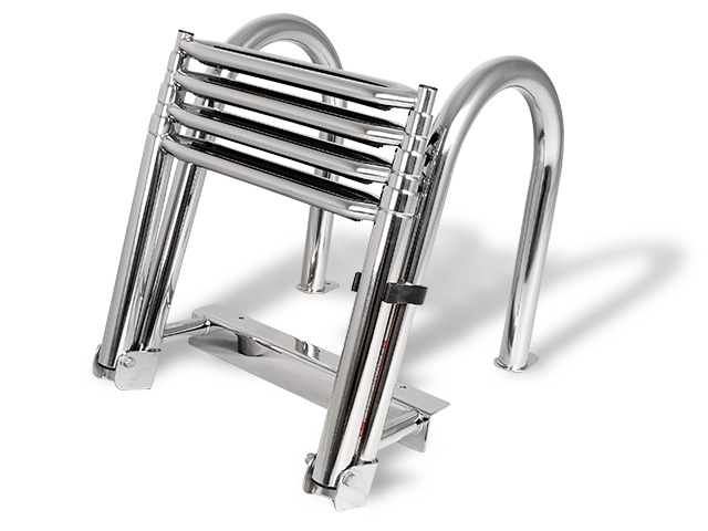 Wakeboard tower speakers 4 Step Folding Telescoping Ladder for Pontoon Boats - Stainless Steel  for boats