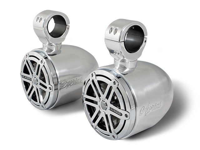 Wakeboard tower speakers Aerial 6.5 inch Bullet Wakeboard Tower Speakers in Polished Aluminum (Set of 2 single speakers) for boats
