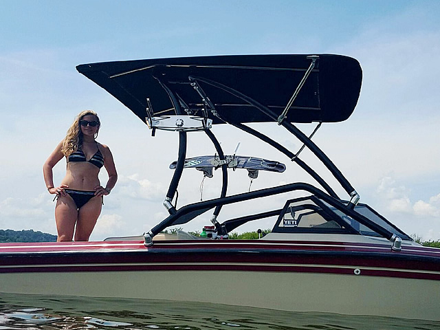 Aerial Airborne 2.0 Wakeboard Tower with Integrated Navigation LED Light - Black Powder Coated helps wakeboarding from a boat