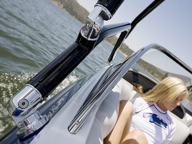 How a Aerial Airborne 2.0 Wakeboard Tower with Integrated Navigation LED Light - Black Powder Coated installs on a ski boat