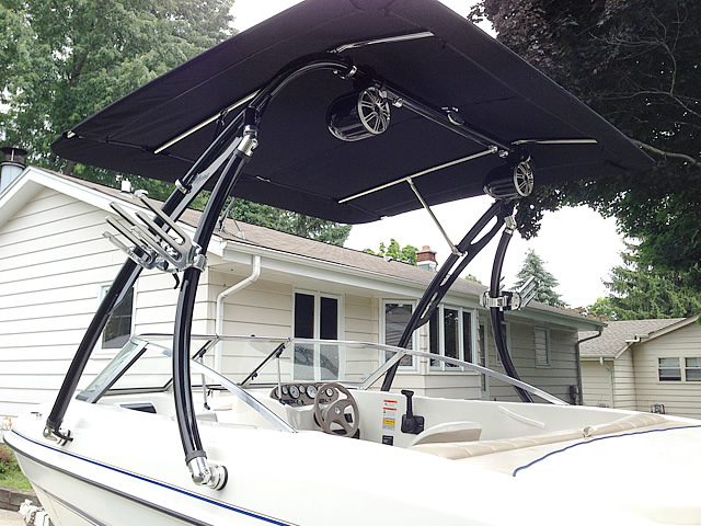 Ascent 2.0 wakeboard tower with bimini and speakers installed on a boat