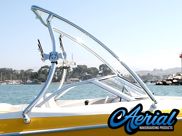 Angle view photo of Aerial Ascent Wakeboard Tower - Polished Aluminum - (67-96 inch beam width)