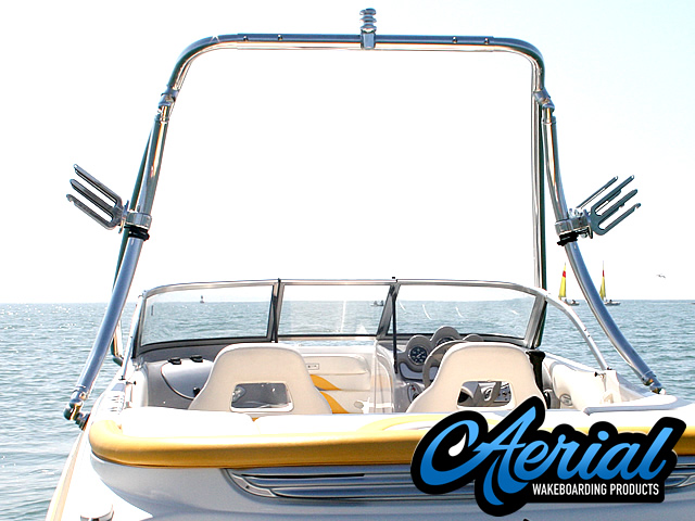 Rear view photo of the  Aerial Ascent Wakeboard Tower - Polished Aluminum - (67-96 inch beam width)