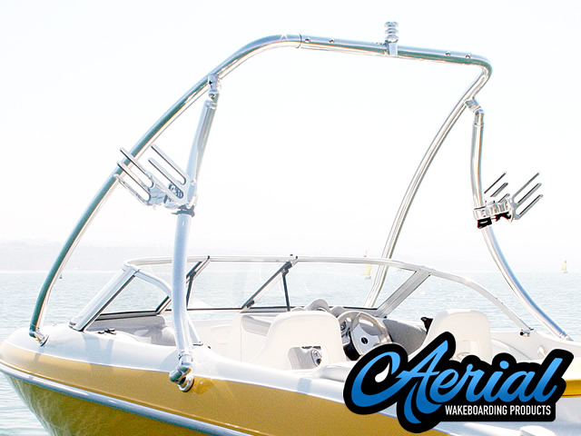 Close-up detail photo of Aerial Ascent Wakeboard Tower - Polished Aluminum - (67-96 inch beam width) manufacturing quality