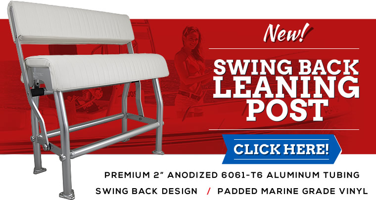 Swing back leaning post for center console boats