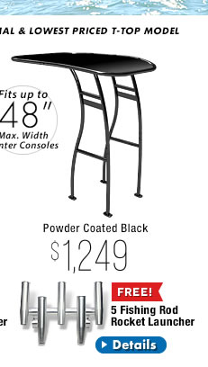 Powder Coated Black Stryker SG300 T-Top for Boats