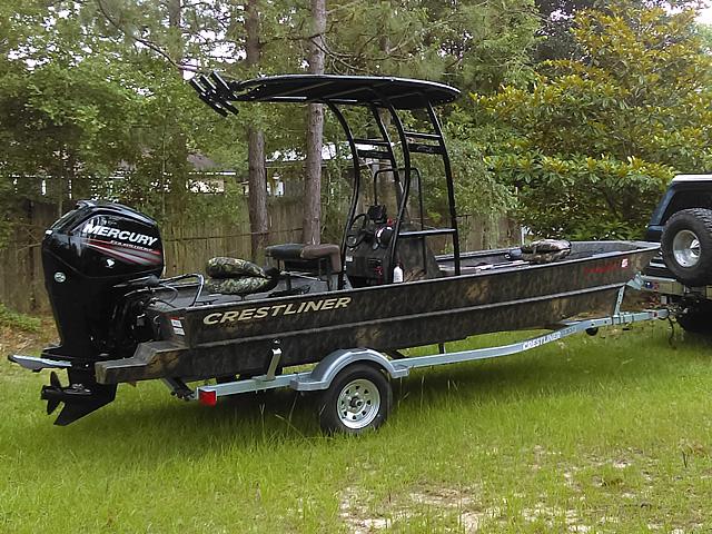 Crestliner fishing boat t-top