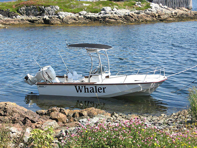 1984 BOSTON WHALER OUTRAGE 20 center console boat with universal t top by Stryker installed