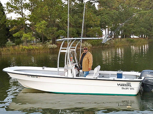 Maritime fishing boat t-top