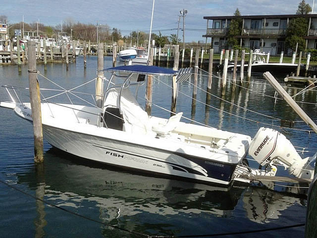 2002 23 ft Bombardier Fish Hawk boat t-tops
