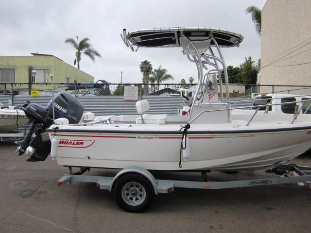Boston Whaler center console boat with universal ttop by Stryker T-Tops installed