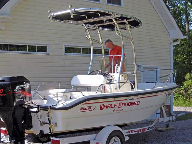 2000 Boston Whaler Dauntless 16 center console boat with universal ttop by Stryker T-Tops installed