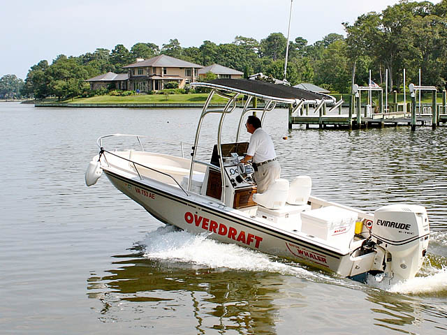 Boston Whaler fishing boat t-top