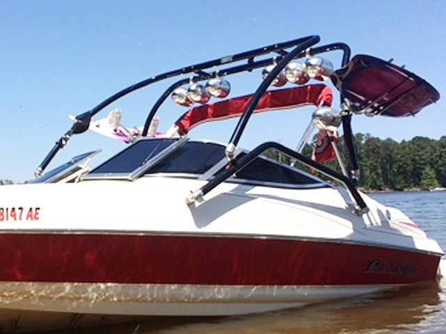 Airborne Tower wakeboard tower installed on 2006 Larson Senza 186 boat