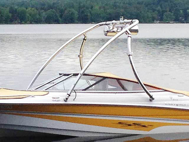 Ascent Tower wakeboard tower installed on Campion Allante 505ss boat