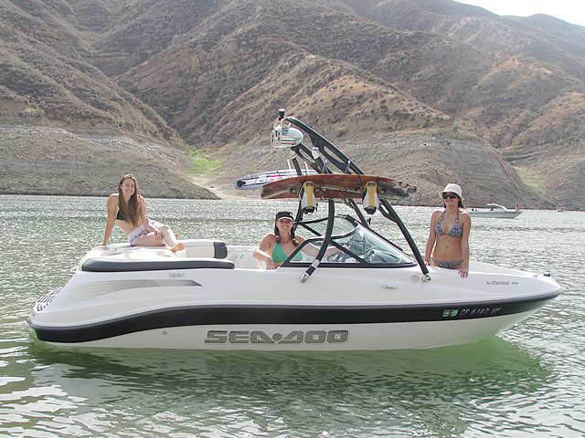 Ascent Tower wakeboard tower installed on 2005 Sea Doo Utopia 185 boat