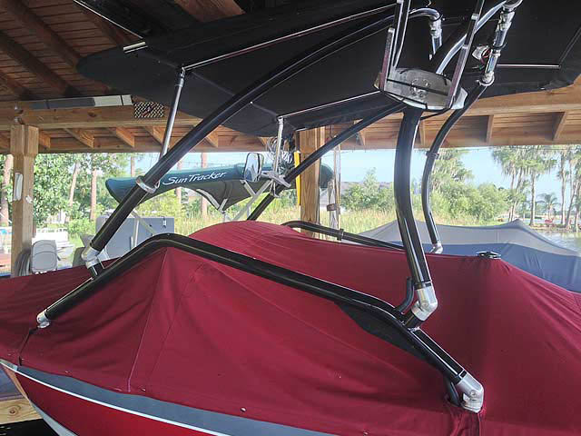 Airborne Tower with Eclipse Bimini wakeboard tower installed on 1991 Barefoot/Excel boat