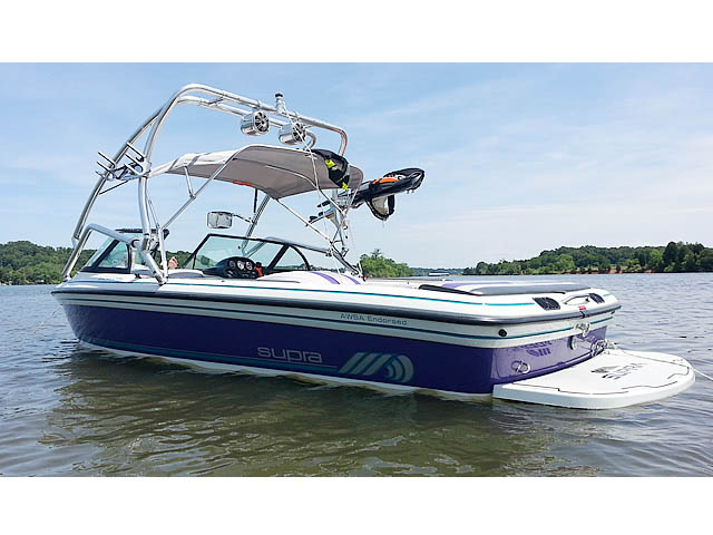 Airborne Tower wakeboard tower installed on 1997 Supra Vision boat