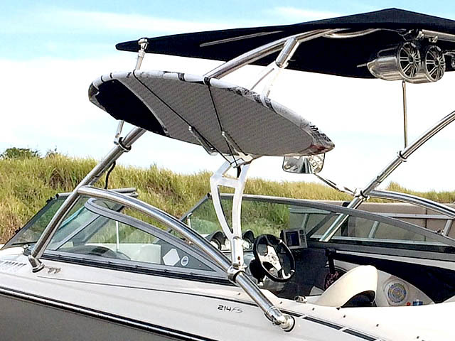 Assault Tower with Eclipse Bimini wakeboard tower installed on 2009 Monterey 214 FS boat