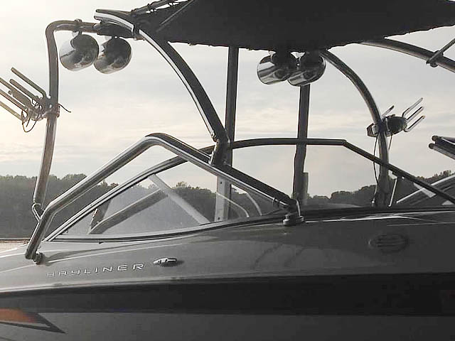 Airborne Tower with Eclipse Bimini wakeboard tower installed on 2004 Bayliner 205 boat