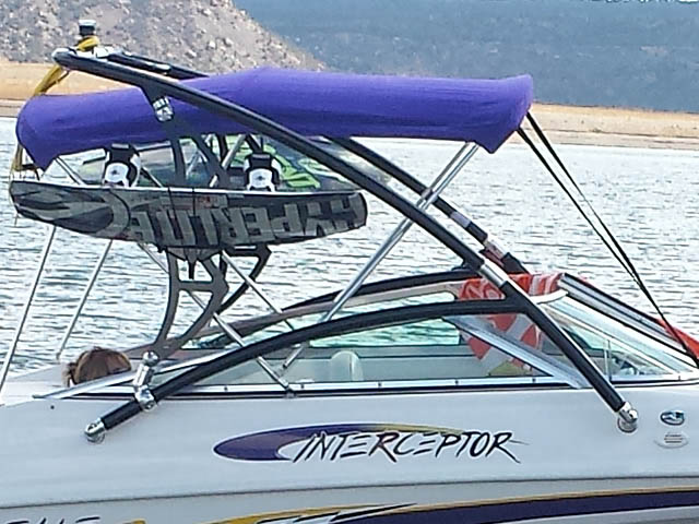 Assault Tower wakeboard tower installed on 2002 Caravelle Interceptor 232 boat