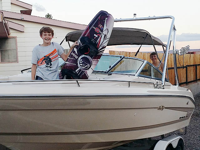 Ascent Tower wakeboard tower installed on 1994 Sea Ray Signature Select 220 boat