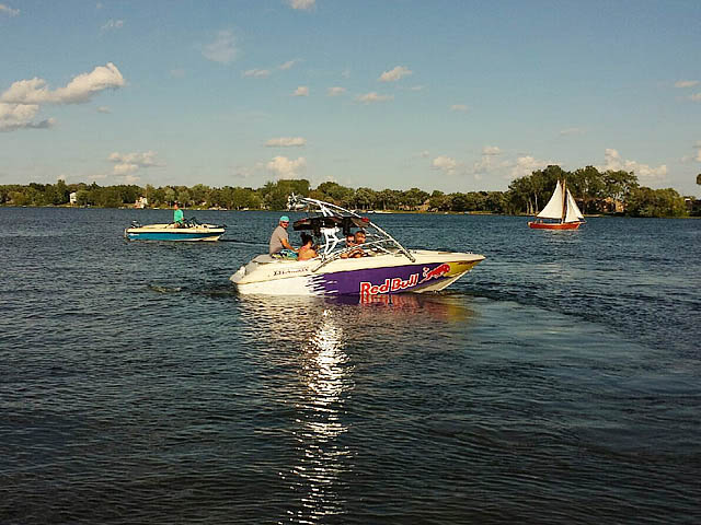 Assault Tower wakeboard tower installed on 1996 Larson sei176 boat