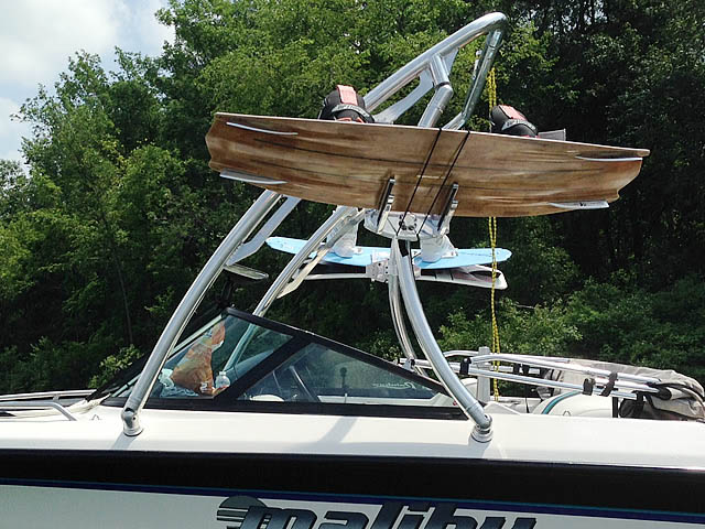 Ascent Tower wakeboard tower installed on 1998 Malibu Response lx boat