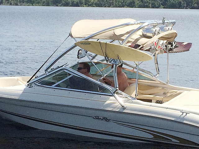 Airborne Tower wakeboard tower installed on 2001 Sea Ray 185 Sport  boat