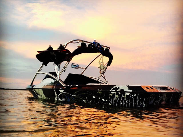 Assault Tower wakeboard tower installed on 1985 Malibu Sunsetter boat