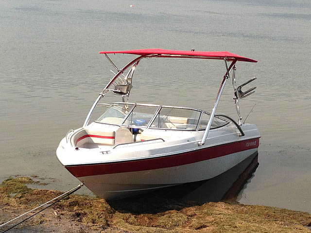 Assault Tower with Eclipse Bimini wakeboard tower installed on 1994 Four Winns 180 Horizon SE boat