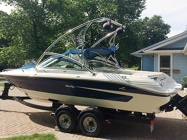 Assault Tower wakeboard tower installed on 1995 Sea Ray 200 boat