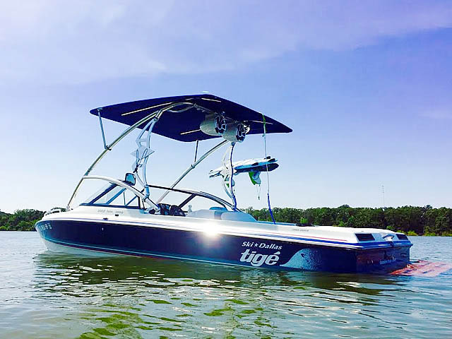 Assault Tower with Eclipse Bimini wakeboard tower installed on 1994 Tige 2002FLSM boat