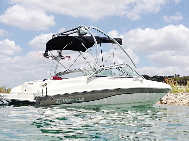 Airborne Tower wakeboard tower installed on 2003 Caravelle 187 Bowrider boat