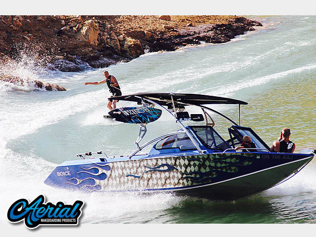 Assault Tower with Eclipse Bimini wakeboard tower installed on 2002 Boice Jet Endevor boat