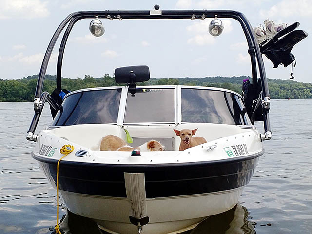 Airborne Tower wakeboard tower installed on 2009 Bayliner BR185 boat