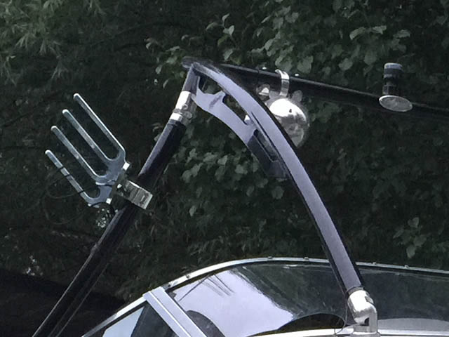 Ascent Tower wakeboard tower installed on 1996 Baja Islander 188 boat