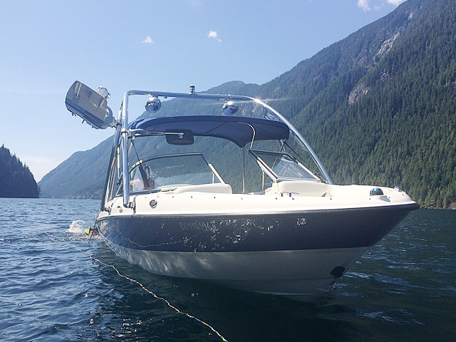 Ascent Tower wakeboard tower installed on 2008 Bayliner 185 boat