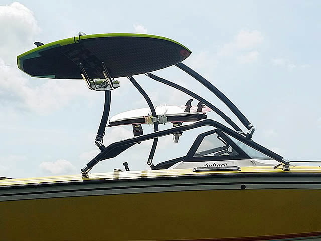 Airborne Tower wakeboard tower installed on 1986 Supra Saltare boat