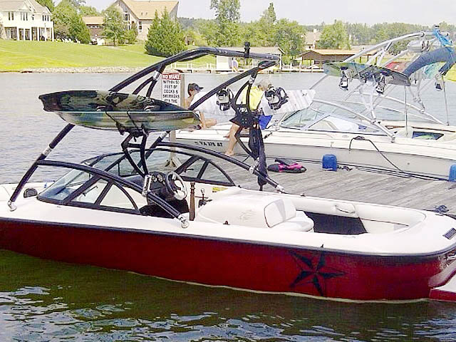 Assault Tower wakeboard tower installed on 1998 Moomba Outback boat