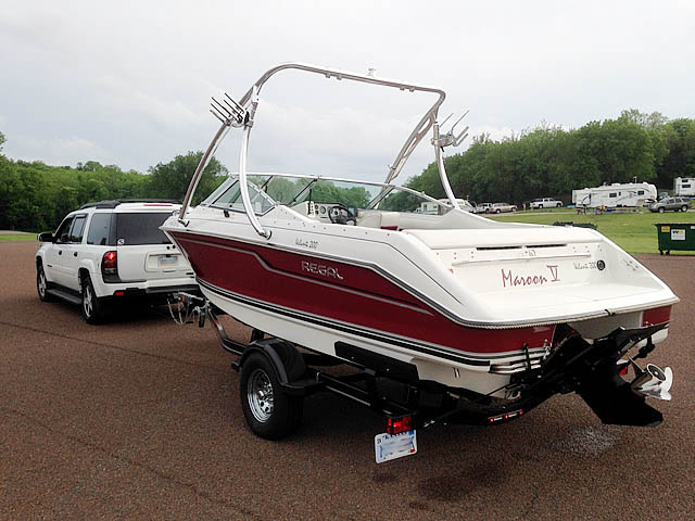Ascent Tower wakeboard tower installed on 1992 Regal Valanti 200 bowrider boat