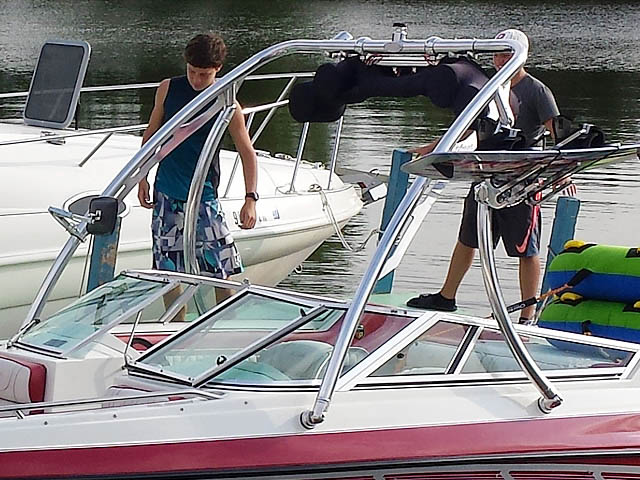 Ascent Tower wakeboard tower installed on 1994 Mariah 202 Shabah  boat