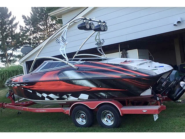 Assault Tower wakeboard tower installed on 2000 Crownline 225 BR  boat