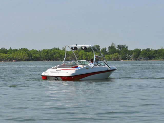 Airborne Tower wakeboard tower installed on Crownline boat