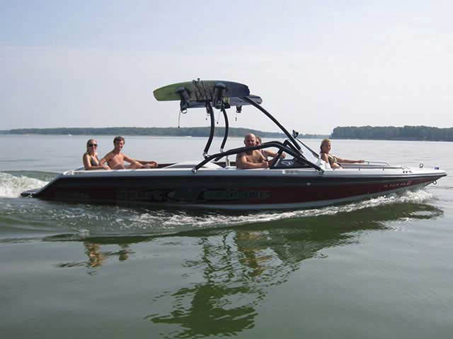 Airborne Tower wakeboard tower installed on 1991 Sport Nautique boat