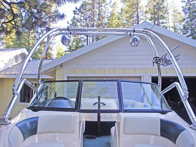 Airborne Tower wakeboard tower installed on 1997 Moomba Outback boat