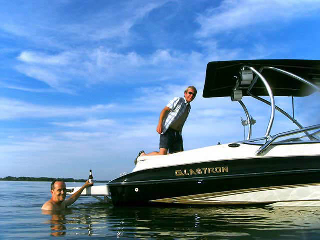 Airborne Tower with Eclipse Bimini wakeboard tower installed on Glastron 2005 GX205 boat