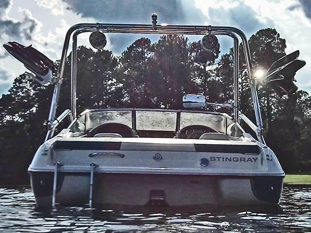 Airborne Tower wakeboard tower installed on 98 Stingray 190LX boat