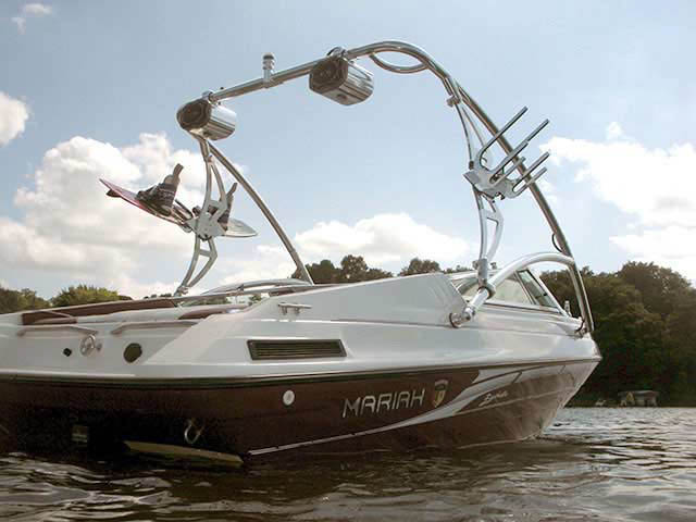 Assault Tower wakeboard tower installed on 1995 Mariah Barchetta 182 boat