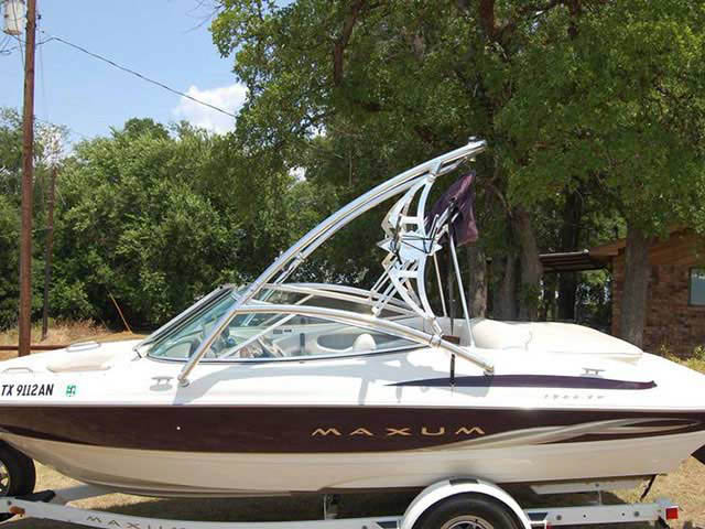 Assault Tower wakeboard tower installed on 2000 Maxum 1900 SR boat